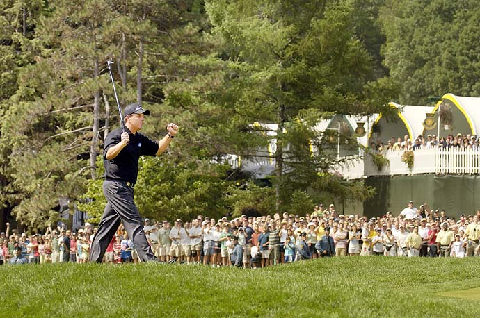 Phil Mickelson during the Monday finish of the 2005 PGA Championship at Baltusrol, his second major victory.