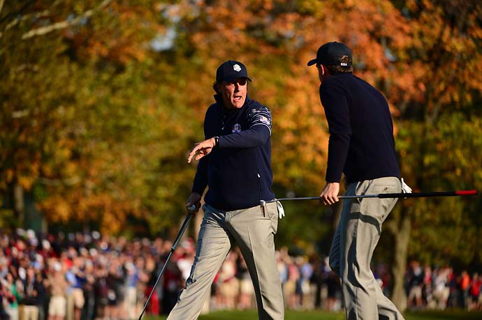 Teammates Phil Mickelson and Keegan Bradley provided a spark to the 2012 U.S. Ryder Cup team.