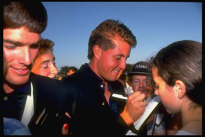 Phil Mickelson signing autographs for fans at the 1991 Walker Cup in Ireland.