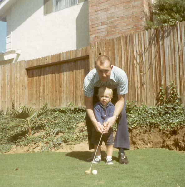 A childhood photo of Phil Mickelson with his father in San Diego.