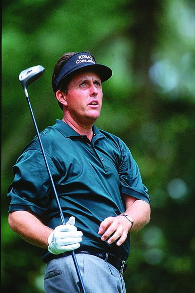 Phil Mickelson at the 2002 Masters. He finished third in 2001, 2002 and 2003 at the Masters before breaking through with his win in 2004.