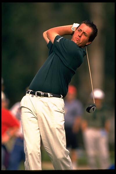 Phil Mickelson hits driver at Riviera in February 1995.