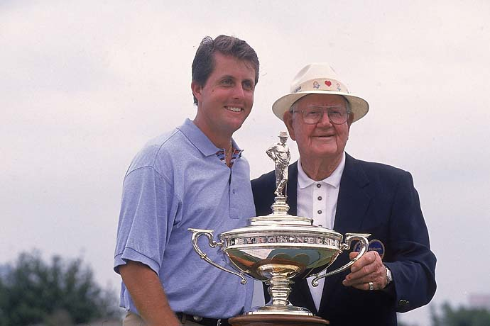 Phil Mickelson victorious with Byron Nelson and trophy after winning tournament on Sunday at TPC Las Colinas in Irving, Texas, on May 12, 1996.