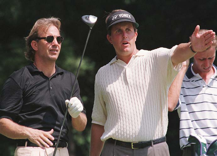 It's always the 1990s in their closets: Kevin Costner and Phil Mickelson at the Suntory Open '96 Pro-Am charity golf tournament at Narashino County Club in Inzai, east of Tokyo, Wednesday, Sept. 4, 1996.
