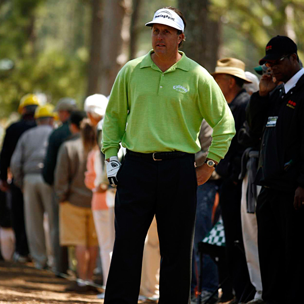 Birdies at 13 and 15 brought Mickelson down to one over par for the day.