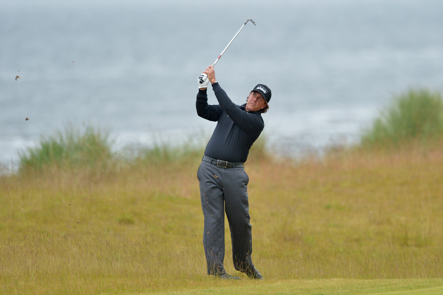 Phil Mickelson had a good round going until a double bogey on the par-5 12th. He finished with a 73.