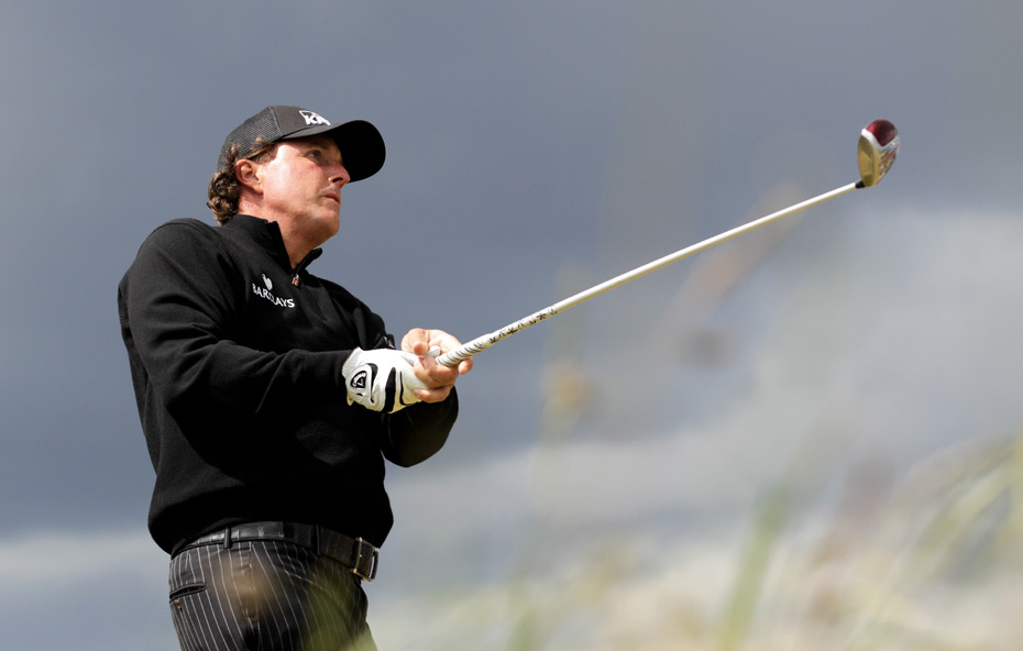 Phil Mickelson tied for 16th after a two-over 74.