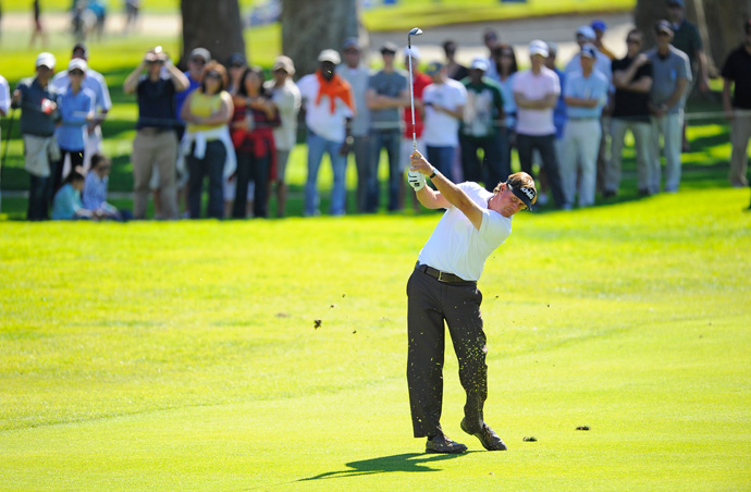 Phil Mickelson fell out of contention Saturday with a one-over 72.
