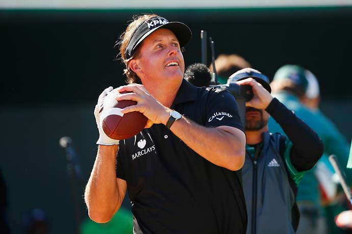 """I think it's the last time I'm going to do that, because mentally I was thinking about throwing it a couple holes prior.""                       --Phil Mickelson on throwing footballs to the fans on the 16th tee on Saturday. He made double bogey on the hole."
