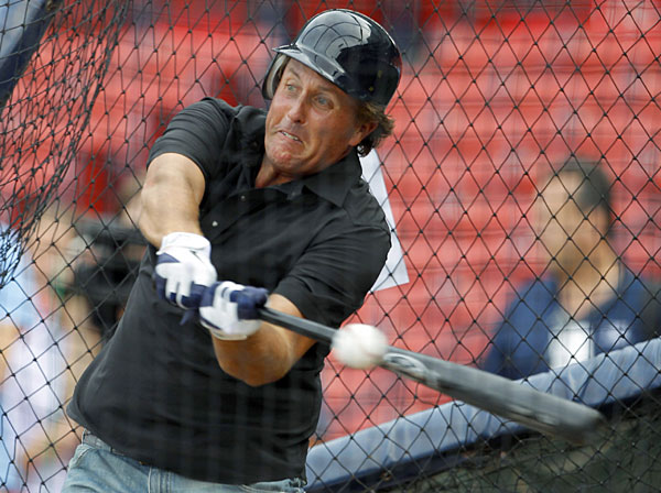Mickelson also took batting practice before throwing out the first pitch.