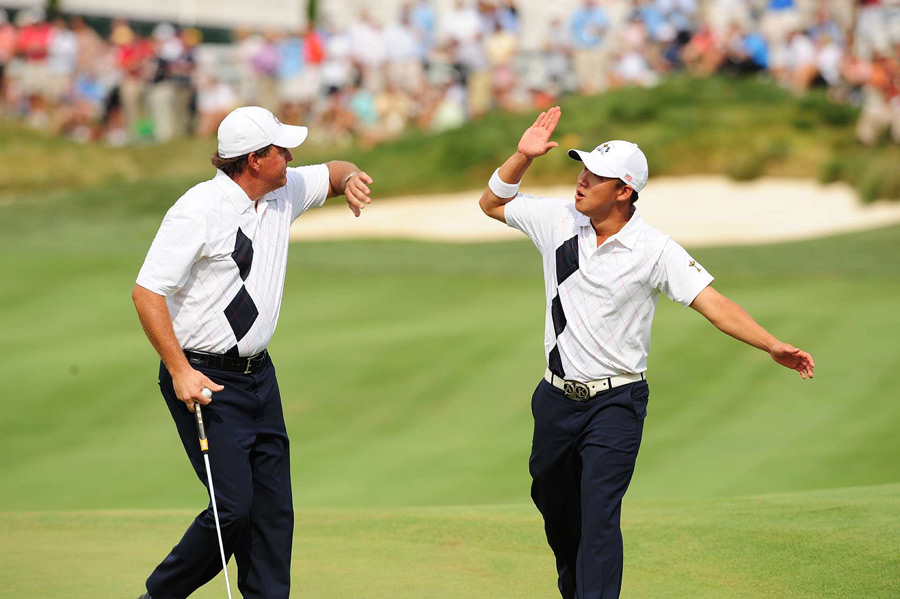Mickelson's Ryder Cup record going into the 2008 competition at Valhalla Golf Club in Louisville was shaky, but he partnered successfully with Anthony Kim to help lead the U.S. team to victory.