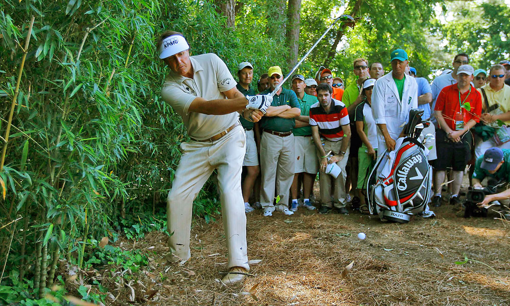 At the 2012 Masters, Mickelson was in contention until a disastrous triple-bogey 6 on the par-3 fourth in the final round. He tied for third.