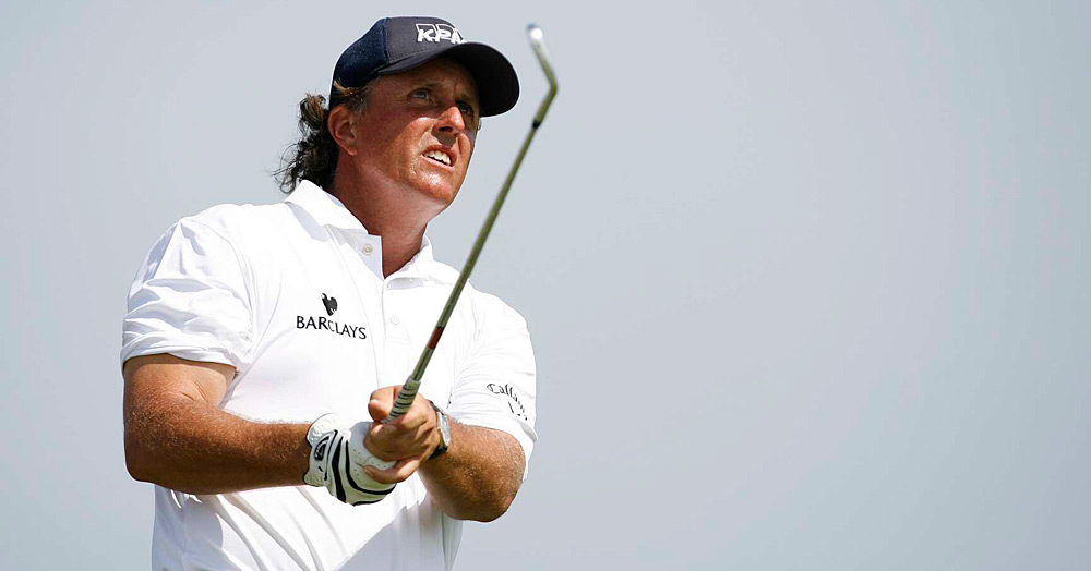 Phil Mickelson made two bogeys and a birdie through 11 holes.