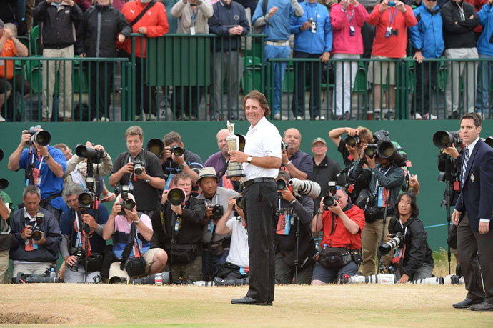 """I never knew if I'd be able to develop the game and the shots to play links golf effectively,"" Mickelson said. ""To play what is arguably the best round of my career, to putt the way I putted, to shoot the round of my life, it just feels amazing to win the claret jug."""