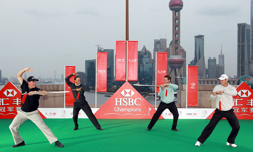 In 2010, Woods, Mickelson, Lee Westwood and Martin Kaymer engaged in some friendly sword play before the WGC-HSBC in Shanghai.