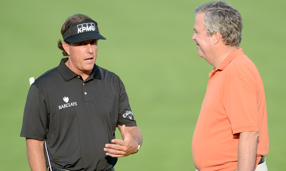 Phil Mickelson played his pro am with former Florida Governor Jeb Bush, the older brother of President George W. Bush.
