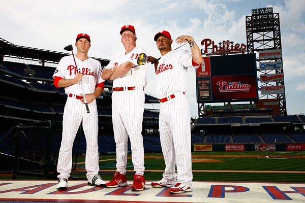 "Shane Victorino can handle a 95-mph fastball. ""But                       hitting a ball that's not in motion, that's the struggle.""                                                                                            The Philadelphia Phillies, led                       by second baseman Chase Utley (left),                       manager Charlie Manuel (center) and                       centerfielder Shane Victorino (right),                       won the 2008 World Series."