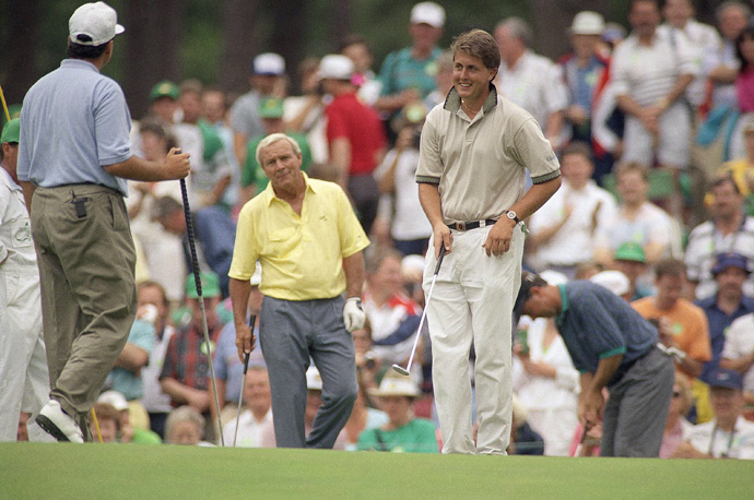 Phil Mickelson made his Masters debut in 1991. The reigning U.S. Amateur champ, Mickelson played a practice round with Arnold Palmer and Rocco Mediate.