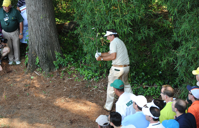 Mickelson was in the hunt for a fourth green jacket in 2012, but he made a triple bogey on the par-3 fourth hole in the final round and finished tied for third.
