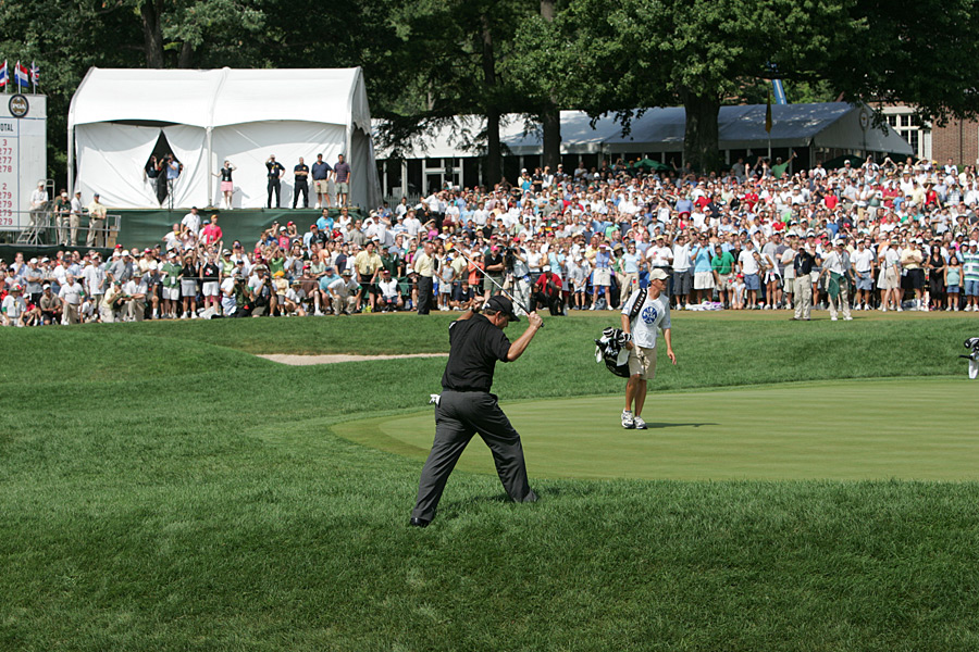 Mickelson won his second major at the 2005 PGA Championship at Baltusrol. At the par-5 18th, he got up-and-down from the greenside rough for birdie to edge Steve Elkington and Thomas Bjorn by one shot.