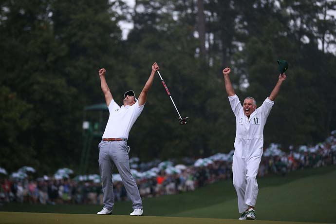 "Adam Scott celebrates his Masters win with his caddie Steve Williams, or, as Golf.com's Josh Sens puts it, Williams wins fourth Masters title: ""The stroke was only so-so, but the read was perfect."""