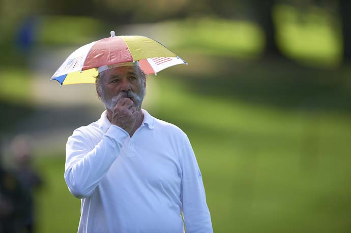 Bill Murray in an umbrella hat during Friday play at Pebble Beach Golf Links for the AT&T Pebble Beach National Pro-Am.