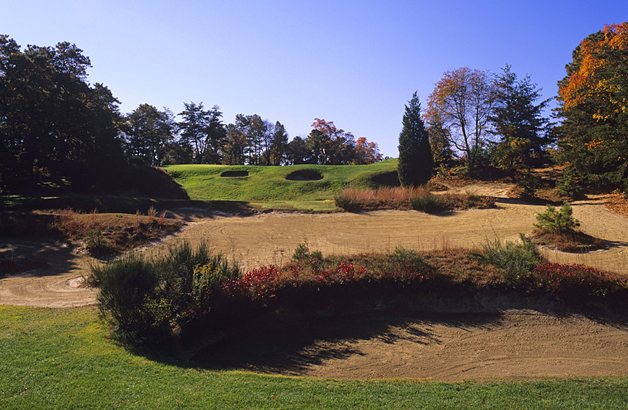 Pine Valley Golf Club -- Pine Valley, N.J. -- No. 2: Par 4, 368 yards                           Of all the showstoppers at the world's top-ranked course, this one just blasts you with the stunning, but forbidding aura exuded throughout the round. Its in-your-face sand and scrub from start to finish, with nothing more dramatic than the forced carry to the second green.