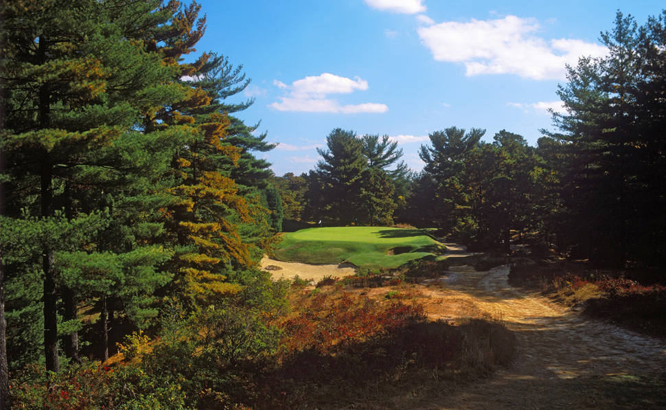 9. Pine Valley Golf Club -- Pine Valley, N.J.                       Uniquely beautiful and brutal, the No. 1-ranked course in the world serves up multiple forced carries on holes that hopscotch from one island of turf to the next. It's a glorious march through trees, sand and scrub, pure pleasure among many of golf's greatest holes and alongside some of the game's most adept caddies -- unless you're hitting it crooked. In that case, you may as well walk in.