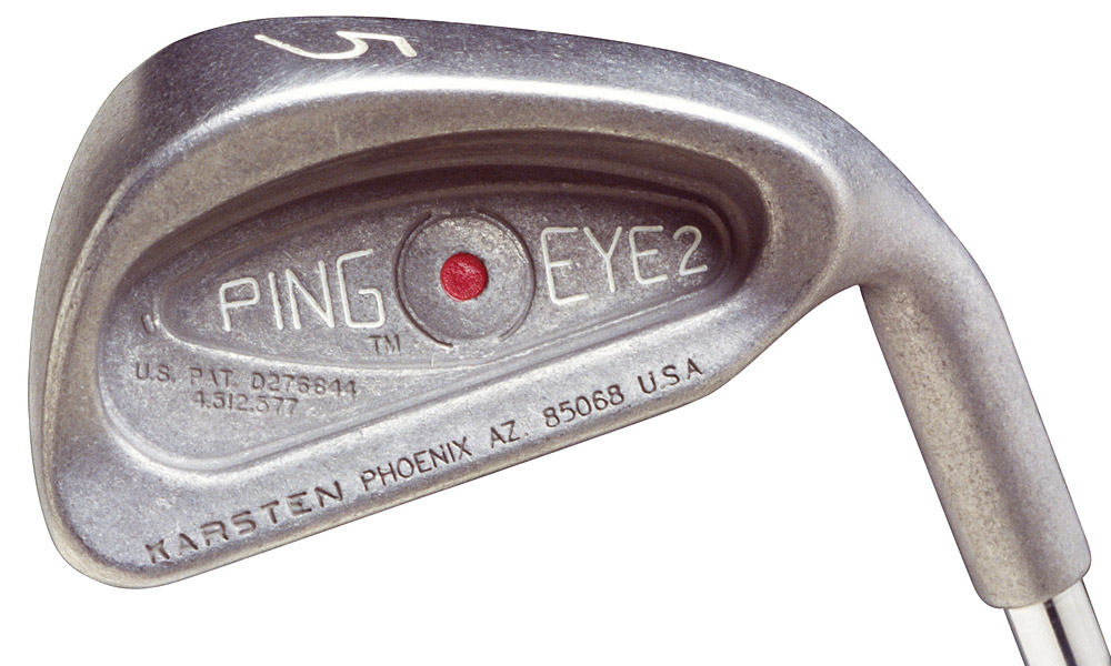 Ping Eye2 Irons                       Invented by Solheim in 1982, the forgiving, square-grooved Eye2s were a revelation and a sensation among amateurs, claiming a 35% market share during their nine-year lifespan.