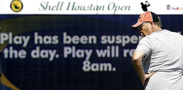 Play will resume at 8 a.m. on Friday.
