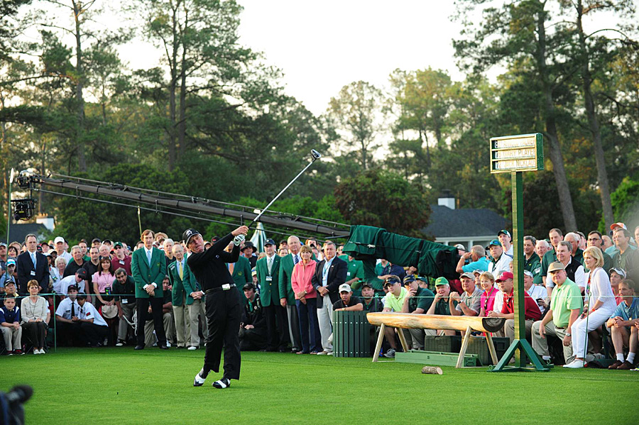 Gary Player joined Arnold Palmer and Jack Nicklaus this year for the ceremonial first tee shot.