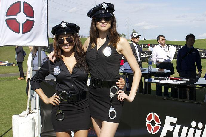 Tabatha Burton and Christine Morse keep the peace at the Fujikura Golf tent at Demo Day on Tuesday.