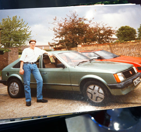 Poulter also tweeted this photo of himself next to his first car, which he purchased for £300 — a little chepaer than the Ferraris.