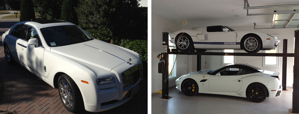 Ian Poulter                           Poulter tweeted pictures of a car lift he installed in his new house (right), and the new Rolls Royce he got for Christmas.
