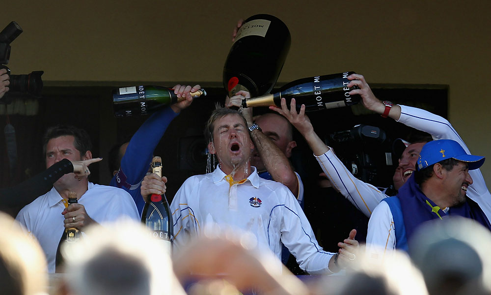 Ian Poulter, arguably the heart and soul of the European team, thoroughly enjoyed the festivities.
