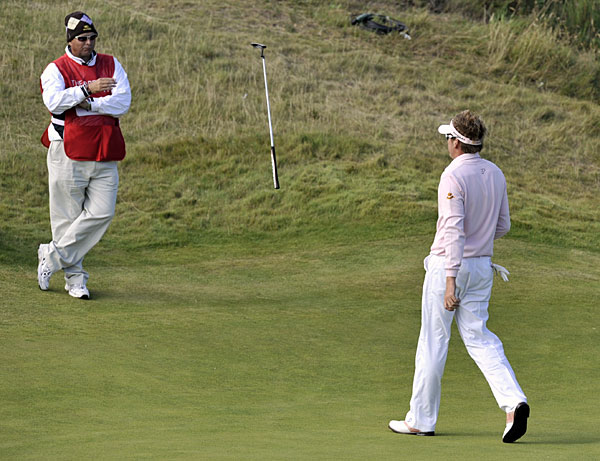 Hopefully Poulter's caddie was paying attention when a putter came flying his way at the 2008 British Open.