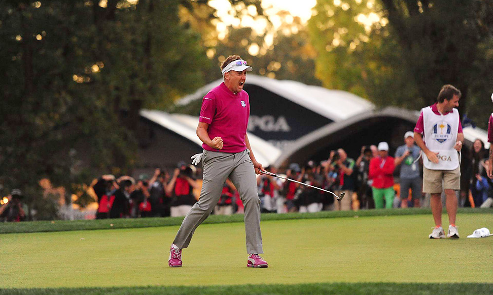 Ian Poulter at the Ryder Cup                       Perhaps no player has ever willed himself and his team to a win as much as Ian Poulter did at Medinah in 2012. Poulter went 4-0-0 and, with his relentless competitive intensity, inspired Team Europe's historic comeback in Sunday's singles matches.