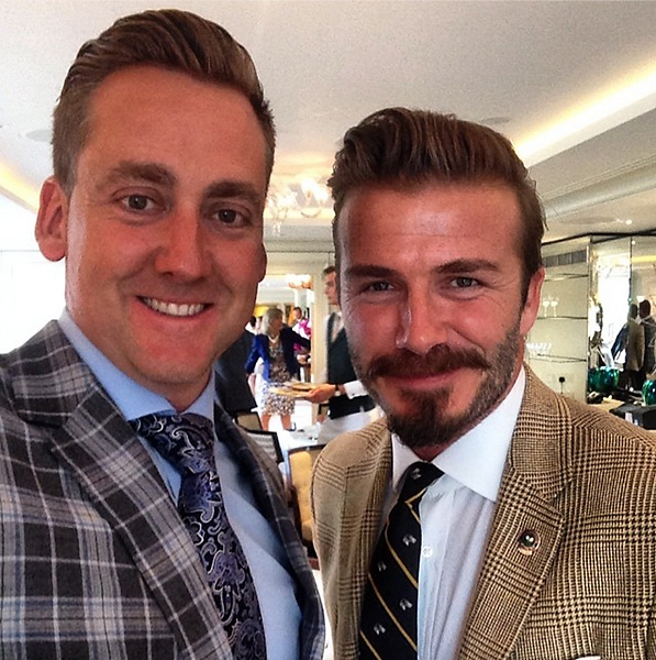 @IanJamesPoulter: David Beckham in his tweed & Poults in the tartan. Might have 1 upped on the outfit. Not on facial hair.