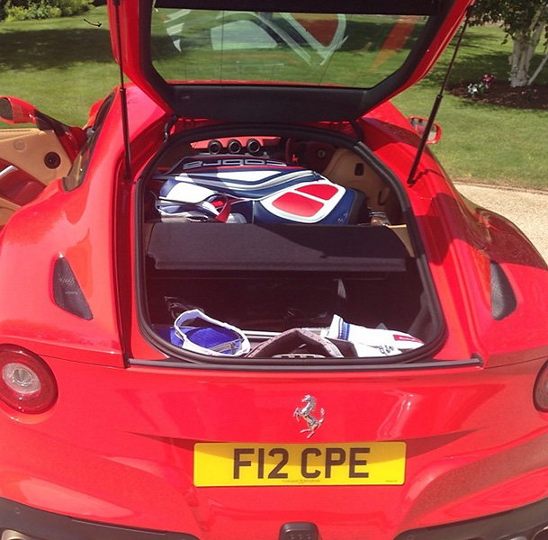 @IanJamesPoulter:2 sets of clubs in an F12 #Ferrari no problem.#Woburn here we come.