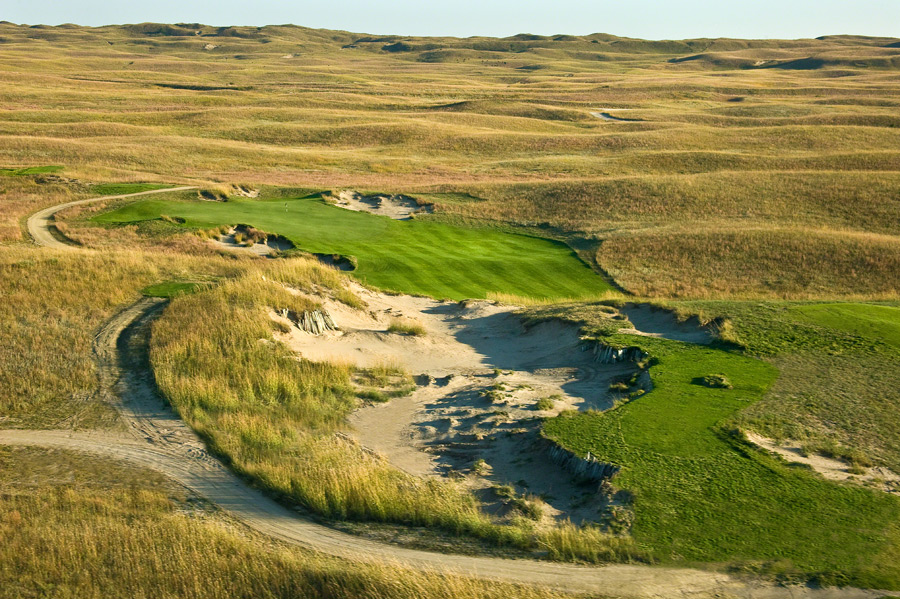 7. The Prairie Club (Dunes), Valentine, Neb.                           The wind never stops howling across this Tom Lehman/Chris Brands–designed prairie links, but wide, brick-hard fairways afford you a fun-filled round big on strategy. Tip: Beware the gigantic blowout bunkers that pepper the acreage. Once completely private, the Dunes alternates daily as public-access with its Pines sibling.