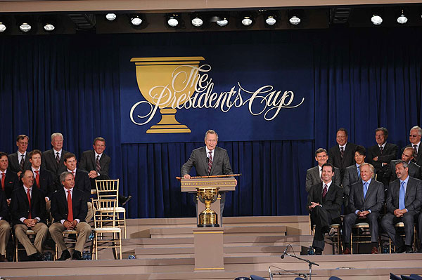 Former President George H. Bush spoke during the ceremony.