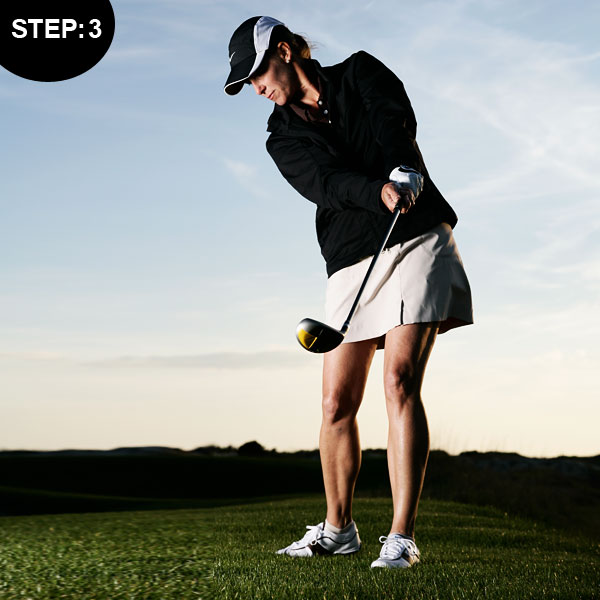 STEP 3 Since you're aimed left of the target, don't worry about releasing the clubhead like you do on regular full swings. Simply turn through the ball and cut your follow-through like you do when you hit a low pitch or a bump-and-run. Think about swinging the clubhead from its high position at the top of your backswing to a low position in your release. Allow the momentum of your swing to bring you into your regular finish position.