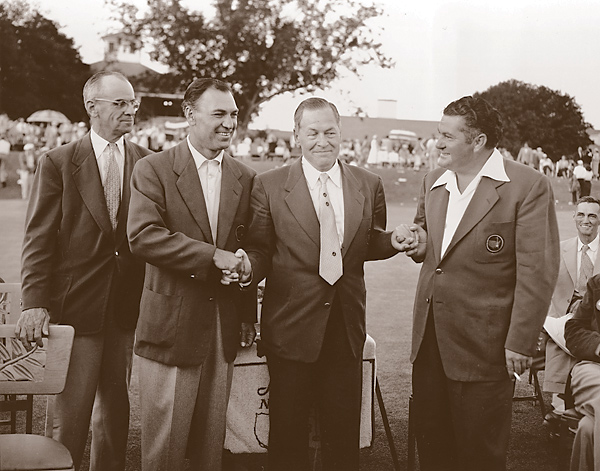 "Upon finishing his final round at the 1940 U.S. Open, 230-pound Ed ""Porky"" Oliver was in a three-way tie with Gene Sarazen and Lawson Little, but Oliver would not participate in the playoff. Oliver's threesome teed off a half hour earlier than their designated tee-time to preempt an impending rainstorm. Unknown to ""Poor Porky,"" this was a violation of the rules, and he was disqualified.                           (Photo: Runner-up Porky Oliver (right) with Bobby Jones (center) and champion Ben Hogan (left) at the 1953 Masters)"