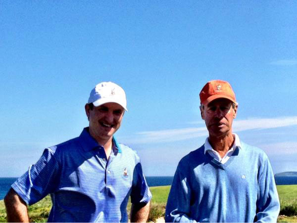 """@eamonlynch: Proud papas: @cabotlinks owners Ben Cowan-Dewar (left) and Mike 'Bandon Dunes' Keiser greet players on the 1st tee."""