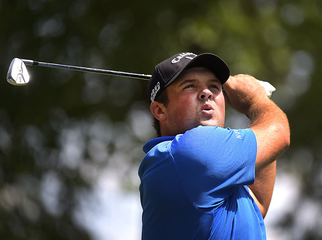 Patrick Reed reacts to tee shot on the 7th hole during the third round of the Quicken Loans National at Congressional Country Club.