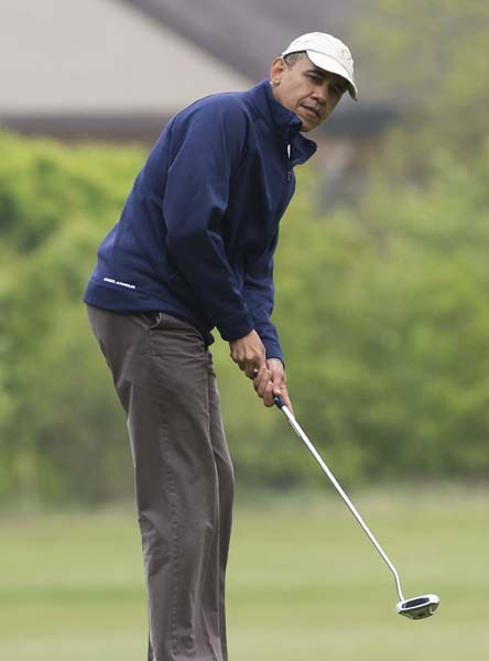 """That's probably for the best because if I started playing better, everyone would be suspicious that I'm not working very hard.""                           --President Obama after telling Fred Couples that his golf game hasn't improved since they met in 2009."