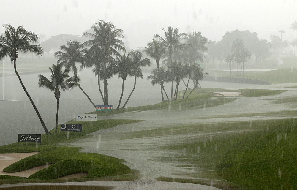 Heavy rain moved in shortly after the third round started and forced officials to reduce the event to 54 holes.