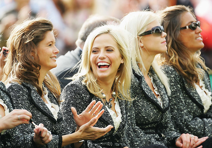 Amy Mickelson shares a joke with Tabitha Furyk during the opening ceremony of the 2006 Ryder Cup at The K Club on Sept. 21, 2006, in Straffan, Co. Kildare, Ireland.