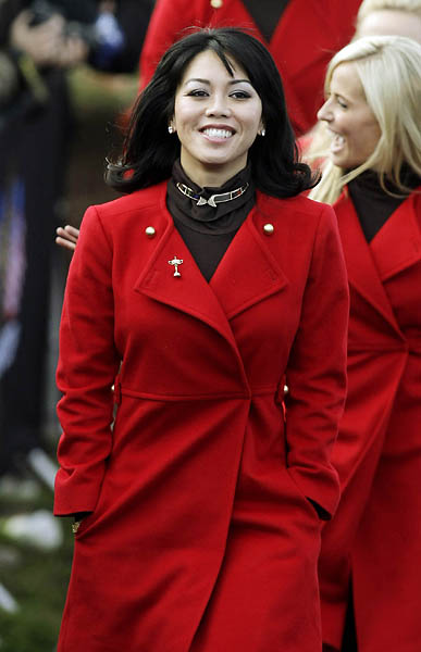 Lisa Pavin, wife of U.S. captain Corey Pavin, during the opening ceremony of the 2010 Ryder Cup in Wales.