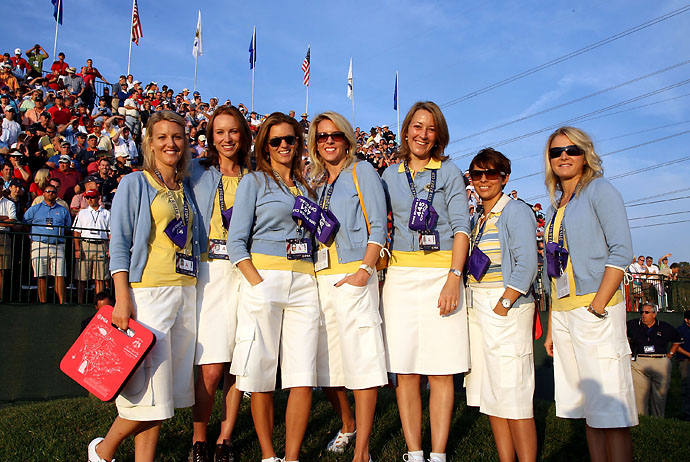 Emma Stenson, Jocelyn Hefner, Kate Rose, Valerie Faldo, Anne Haghfelt, Laurae Westwood and Laura Smith pose on the first hole during the morning foursomes on day one of the 2008 Ryder Cup at Valhalla Golf Club on Sept. 19, 2008 in Louisville, Ky.